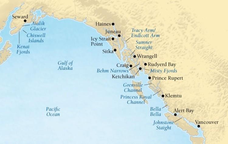 Cruise Alaska Map Vancouver Seward