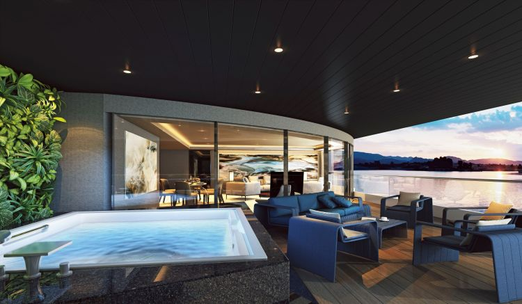 Scenic Eclipse Owner's Penthouse Terrace and Jacuzzi